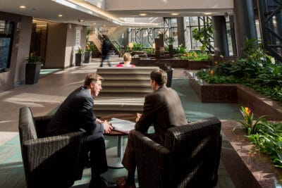 Bell Plaza Atrium Business Meeting
